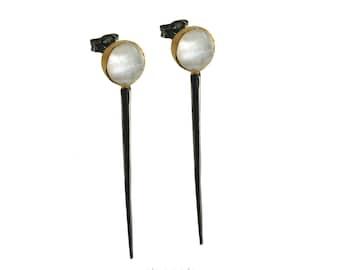 Statement Earrings Black Earrings Mother of Pearl Chic Jewelry Gemstone Earrings Silver jewelry stud earrings Gift for her  Made in Greece