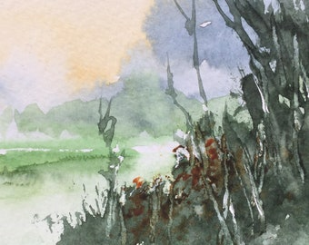 Riverside ORIGINAL Watercolour miniature painting ACEO Watercolor English Landscape, For him, For her, Home decor, Wall art, Gift Idea