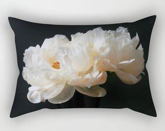 Velvet Pillow Peony Print, Floral Lumbar Pillow Cover, White Peonies Velvet Cushion, Shabby Chic Pillows, Cottage Decor, Boho Decor