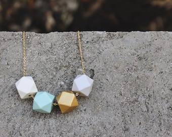 Geometric Wood Necklace // Gold Mint Faceted Wooden Bead Necklace // Hand Painted// Hedron Necklace Everyday // Statement