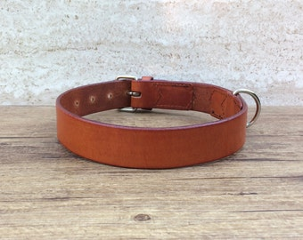 Collar, dog collar leather, leather collar for dogs, custom-made, light brown