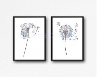 Dandelion Print Set Of 2 Watercolor Painting Home Decor Wall Art Watercolour Art Print Dandelion Living Room Decor Home Decor Unframed