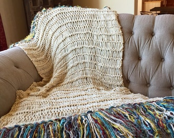 Afghan Blanket Throw, Knit with Color Fringe Throw Blanket Afghan Ivory, Turquoise, Red, Yellow, Grey Cream Throw Afghan Blanket