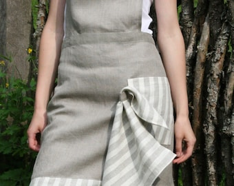 Pure Linen Full Apron & Kitchen Towel