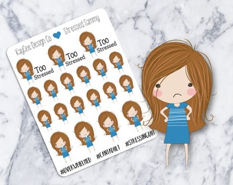 Stressed Sammy / Planner Stickers / Hand Drawn / Tracking / Fits Erin Condren Vertical & MAMBI / Filofax / Kikki K / Scrapbook