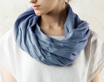 Linen women's scarves, Blue linen scarf, Soft linen scarves, Natural scarf women, Linen women's clothing, Infinity scarf women