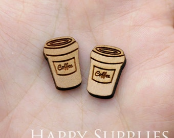 4pcs (SWC183) DIY Laser Cut Wooden Coffee Cup Charms