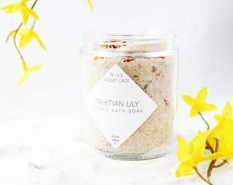 Lily Bath Soak   Natural Vegan Bath Salts   Dead Sea Pink Himalayan Salt Bath Soak   Spa & Relaxation   Tahitian Lily
