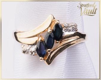 Vintage Sapphire & Diamond Ring ~ 10K Yellow Gold ~ 0.60 ctw Genuine Marquise Sapphires ~ Single Cut Diamonds ~ STR17228 ~ GIA ~ 1000.00