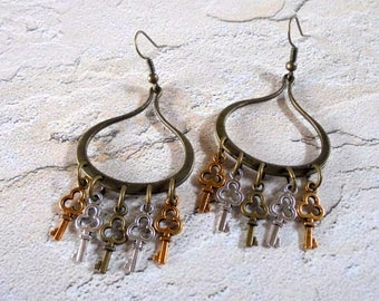 Brass, Silver and Gold Key Earrings (4248)