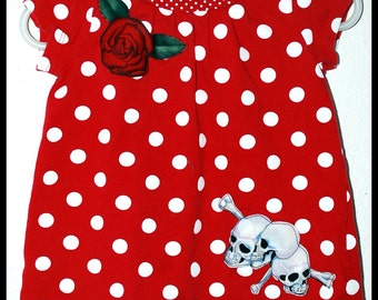Girls Rockabilly Shirt Red & White Dots with Skulls n Roses
