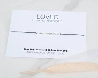 SALE Loved Morse Code Bracelet,Wife Gift, Family Gift, Minimalist Bracelet, Leather Bracelet, Morse Code, Loved Graduation Gift, Love