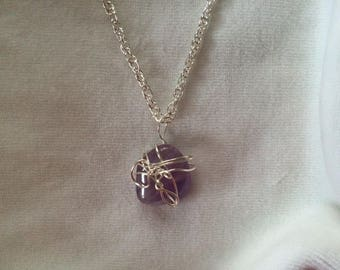 Genuine Amethyst Silver-wrapped Pendant & Chain