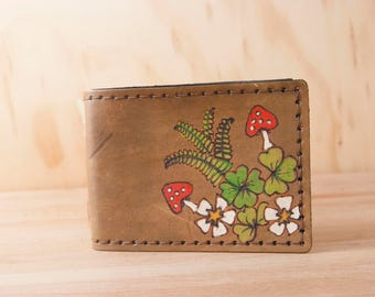 Leather Bifold Wallet - Mens or Womens Handmade Wallet with Mushrooms and Ferns - Woodland  in Green and Antique Brown