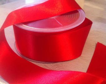 Double faced 38 mm col 204 Carmine Red satin ribbon