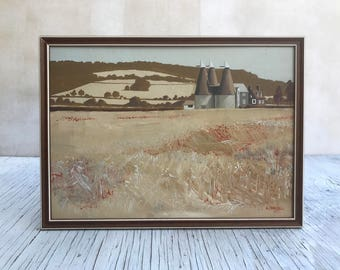 Original British art: landscape oil painting, signed A Campbell, 1977. SImple frame. Size 14 x 10 inches, 355 x 254mm.