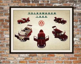 Volkswagen 1966 VW Full Line -  Rendition of Advertisement - Vintage Advertising - Vintage Volkswagen - Print Drawing Art Item 0136