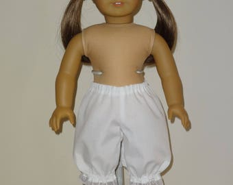 White Bloomers/ Pantaloons for 18 inch American Girl Doll