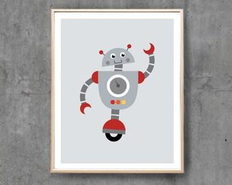 Robot Print, Robot Art Poster, Retro Blue Robot Wall Art, Boy Nursery Art Print, Printable Art / INSTANT DOWNLOAD