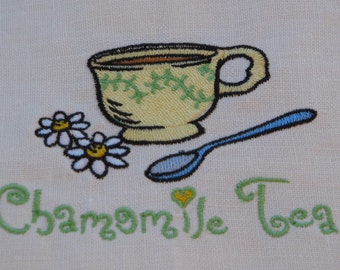 Embroidered Linen towel Chamomile tea