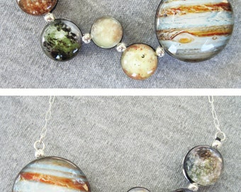 Wiggly Jupiter and Galilean Moons Double Sided Necklace, Hand Made Sterling Silver.