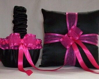 BLACK SATIN And FUCHSIA Pink Ribbon Trim Flower Girl Basket And Ring Bearer Pillow Set 1
