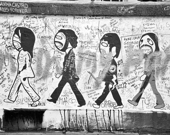 Abbey Road, Graffiti Print, Street Art Print, London Photography, Black and White, Fine Art Print, urban decor, Wall Art