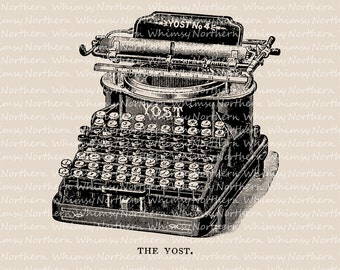 Victorian Typewriter Clip Art – Vintage Typewriter Image – Typewriter Digital Stamp - Typewriter Printable Graphic - commercial use