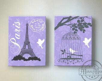 "Eiffel Tower Bird Cage Paris Bedroom Decor , Girls Room Decor - canvas art, Baby Girl Nursery Decor 10""x 12"""