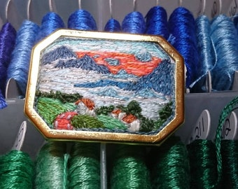 Gabriele Münter inspired hand embroidered brooch - Olympiastreet at Murnau