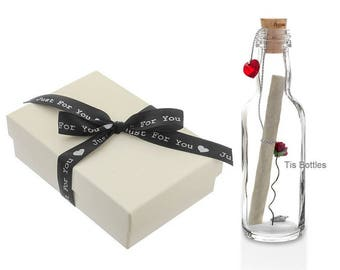 Unique 2nd Wedding Anniversary Gift Personalised Message in a Bottle with Gift Box