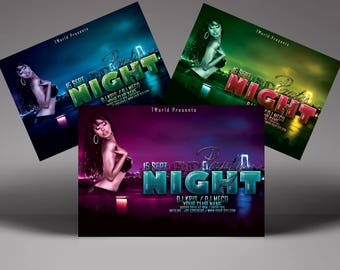 Night Party Flyer Template (3 COLORS) | Psd 300 DPI CMJK | print ready, layered, very easy to edit | club, music, dance