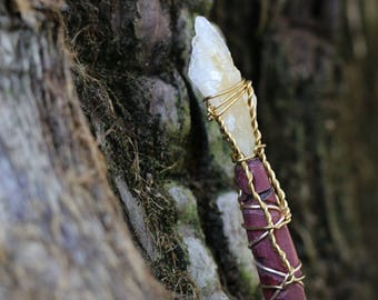 Magic Wand - Purpleheart and Yellow Citrine - Wiccan Wand, Pagan Wand, Wizard Wand, Magical Girl Wand, Wood Wand, Witch Wand,  Magick Wand