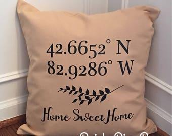 Home Pillow Cover, Longitude Latitude Pillow, Throw Pillow, Pillow COVER ONLY, Home Decor, Farmhouse Decor, Housewarming Pillow, New Home
