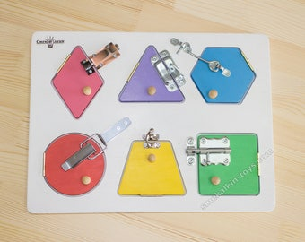 Busyboard mini math (Activity Board, Sensory Board, Montessori Toy, Wooden Toy, latch board, Toys for toddlers)