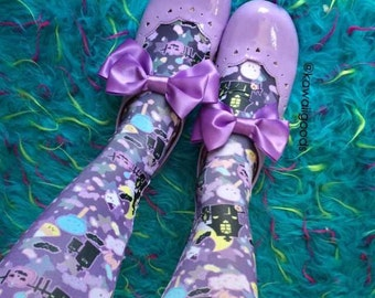 Candy Cemetery Tights, Eyeball Bone Creepy Cute Bat Leggings Tights, Bat Tights, Pastel Goth Tights, Lavender Eyeball Tights