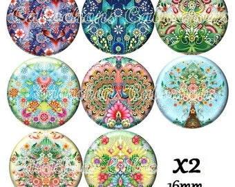 Set of 16 cabochons 16mm glass, flowers trees ref ZC255