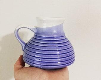 Vintage Ceramic Ribbed Blue Travel Mug