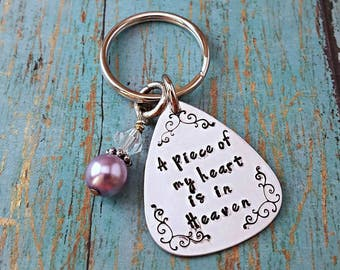 A Piece of my Heart is in Heaven - Memorial Keychain - In Memory Of - Angel Wing - Loss of a Loved One - Memorial Gift - Infant Loss - Angel