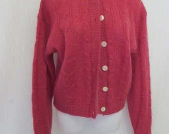 Mohair Cardigan 1970's Cardigan Sweater Cable,knit Sweater Mohair