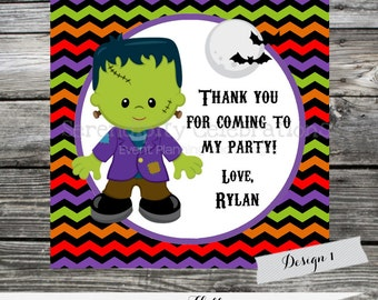 Frankenstein Halloween Printable Favor Tag, Digital Halloween Stickers, Candy Bag Treats, Holiday Favors, Halloween, Frankenstein Tags