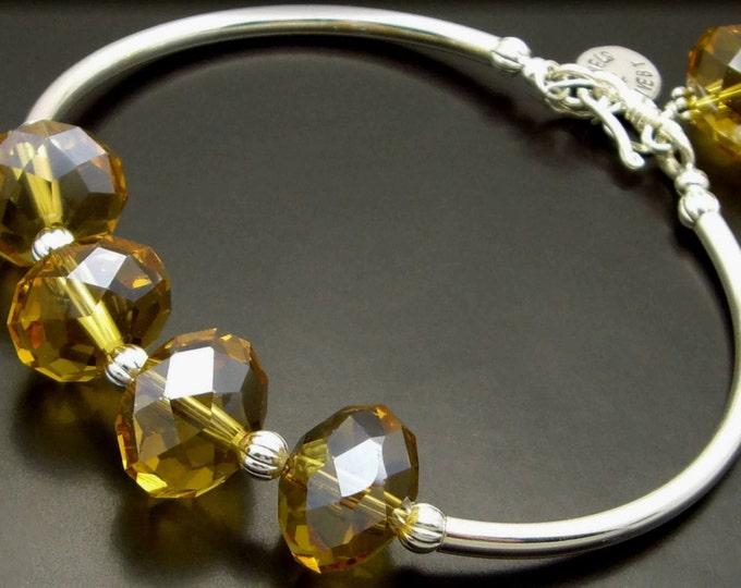 UNITY ~ Whiskey Quartz, Sterling Silver Bracelet