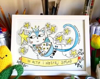 Good Luck's Cat | Original sketch by Burabacio