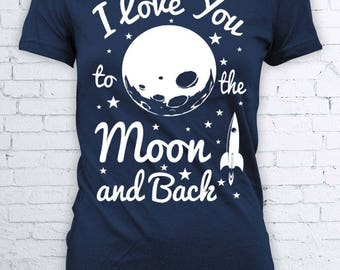I love you to the moon and back cute shirt kids tumblr t shirt parent childrens top FEA241