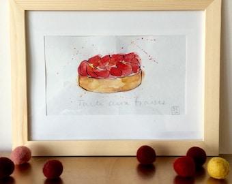 Tartelette à la Fraise Illustration - Strawberry Tartelette  - Original Ink and Watercolour on Paper
