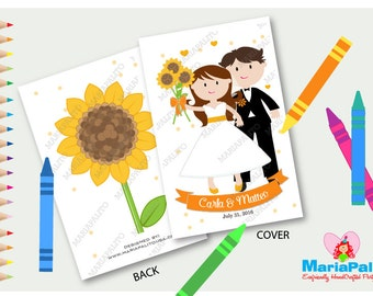 6 Wedding Coloring Books, Sunflower Wedding, Bride Groom Coloring Book, Children's Activity Booklet , Personalized Party Favors  A1286