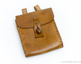 Vintage Leather Belt Pouch Belt Bag Brown Leather Small 60s