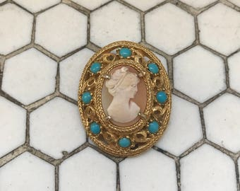 Vintage Cameo Gold Filigree Turquoise Brooch