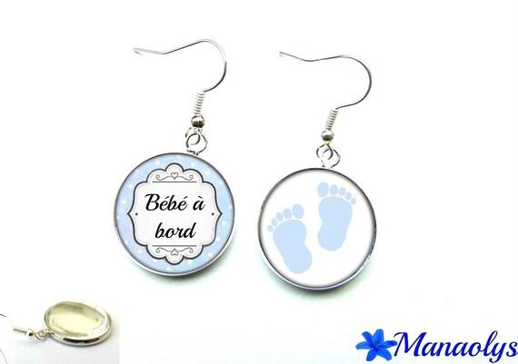 Baby on board, glass cabochons Silver earrings blue 2352