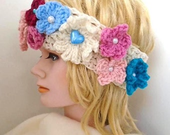 CROCHET HEADBAND PATTERN, Festival Flower Headband, Flower crown, Flower Headpiece, Floral Boho Headband,  age 2 to adult, #810